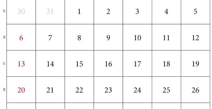 september kalender 2020