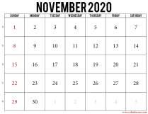 2020 november calendar