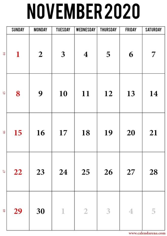2020 november calendar portrait