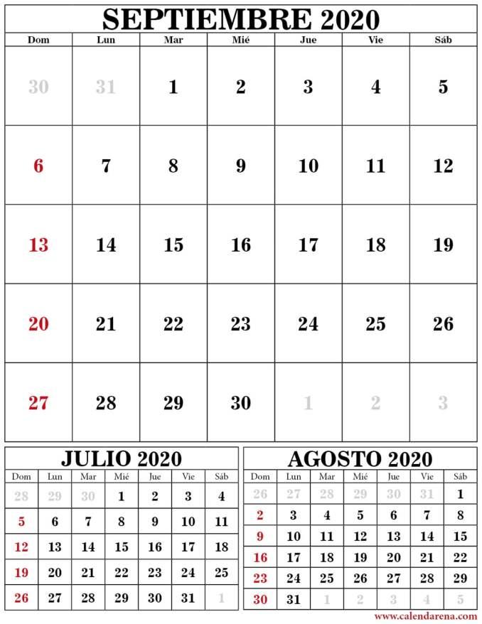Calendario julio agosto septiembre 2020 portrait