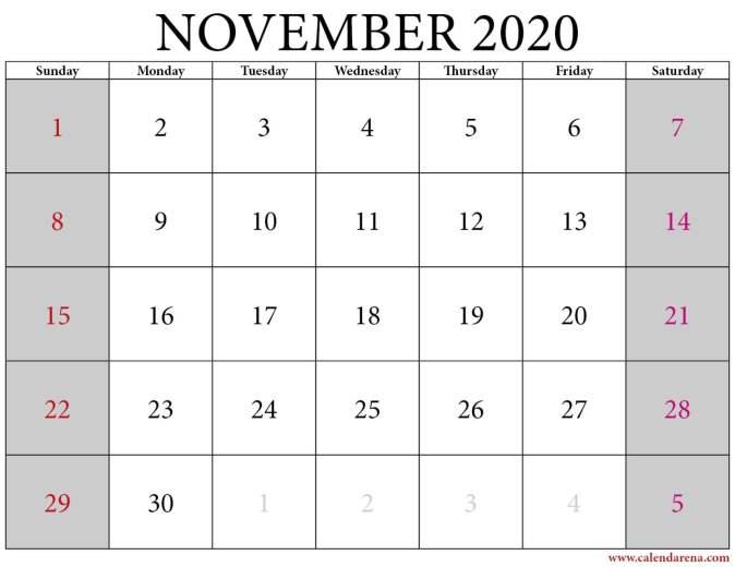 Calendar 2020 november