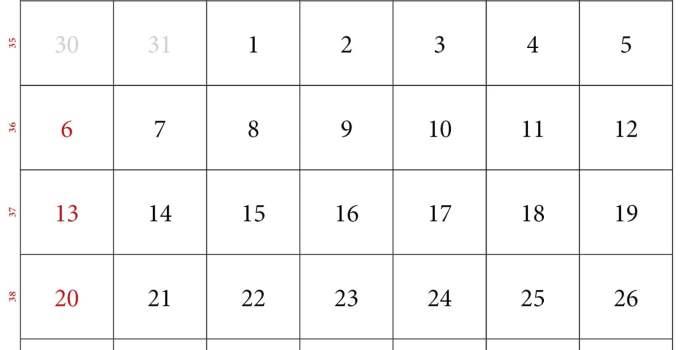 calendario del mes de septiembre 2020