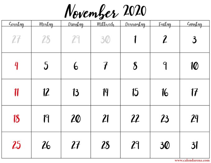 kalender monat november 2020
