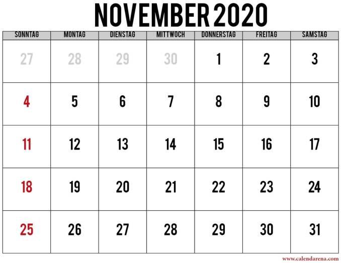 kalender november 2020 mit feiertagen