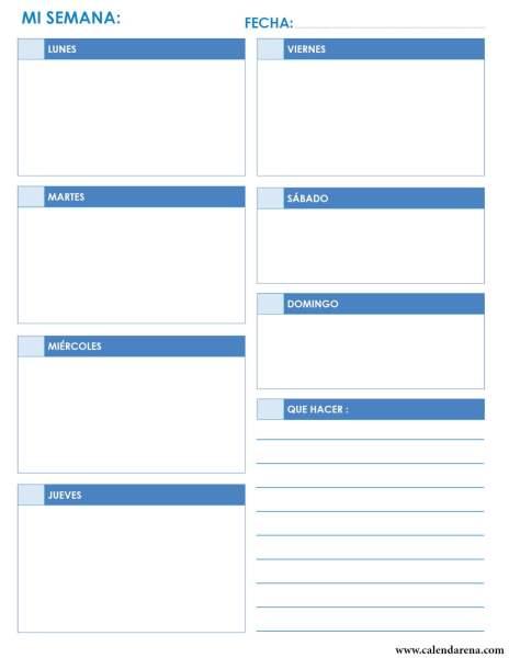 Calendario diario retrato azul