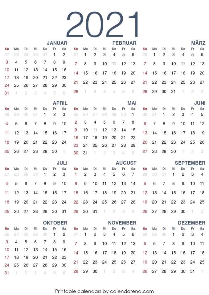 Kalender für 2021 leerer Kalender druckbar