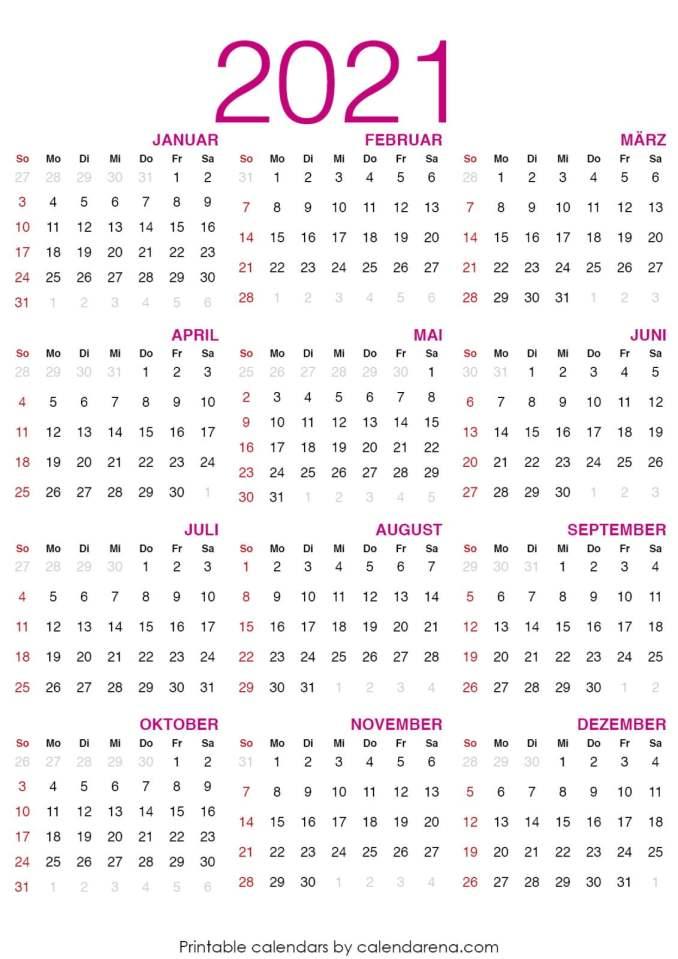 Kalender für 2021 leerer Kalender