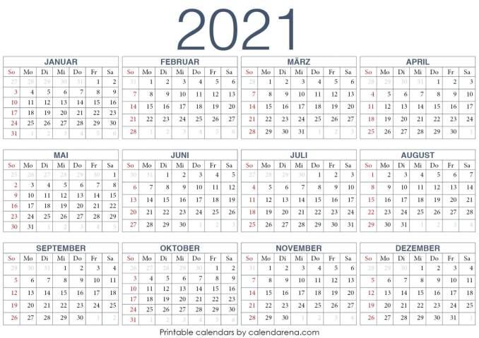 PDF-Kalender 2021 Vorlage 1