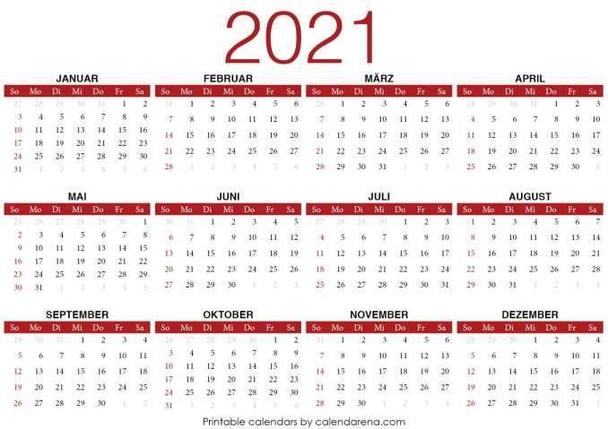 PDF-Kalender 2021 Vorlage 3