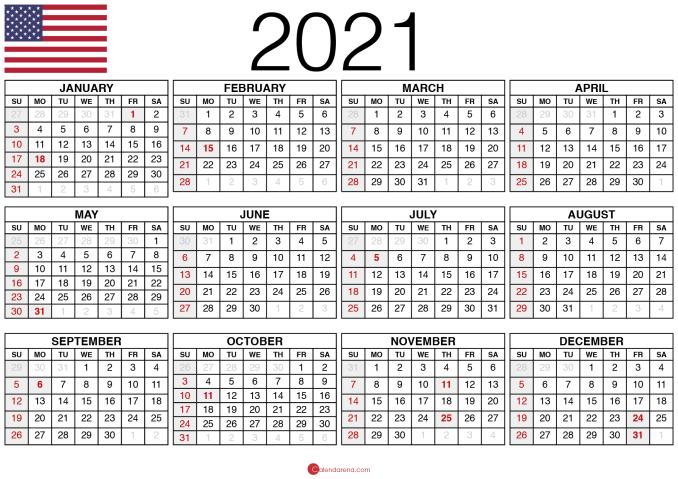 blank calendar 2021 usa