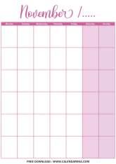 blank monthly calendar printable november 2020