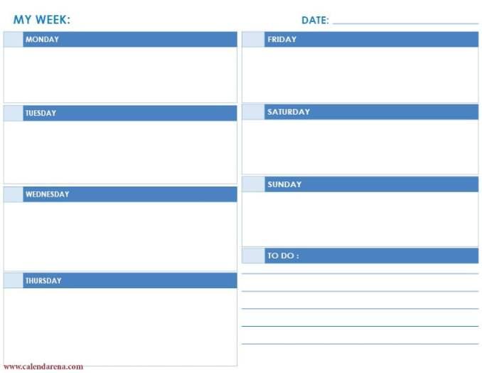daily calendar landscape blue