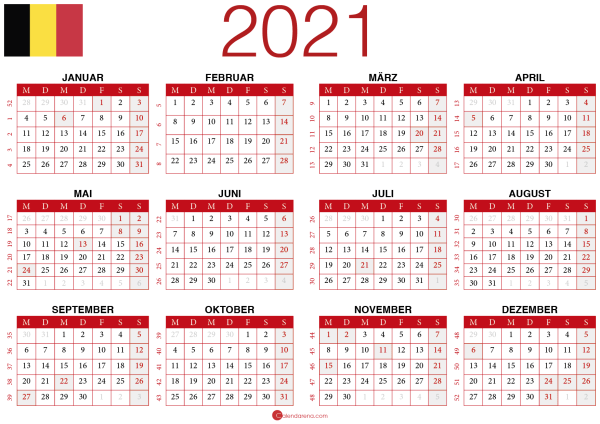 2021 kalender Belgien