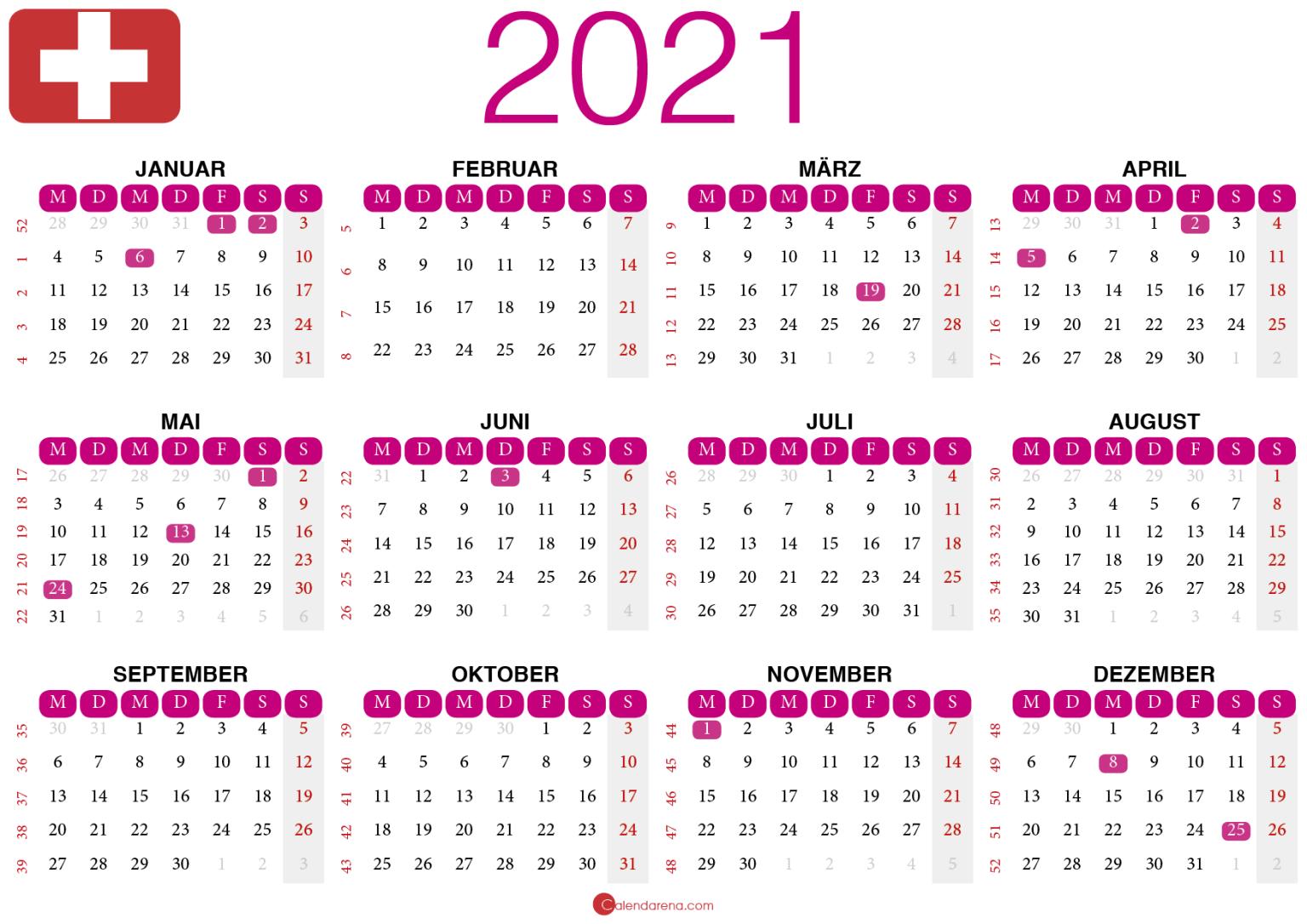 2021 Kalender zum Ausdrucken Schweiz 🇨🇭