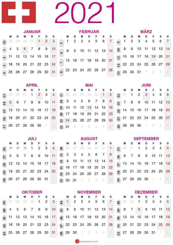 kalender 2021 zum ausdrucken CH2