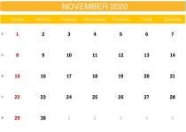 Yellow November 2020 Calendar