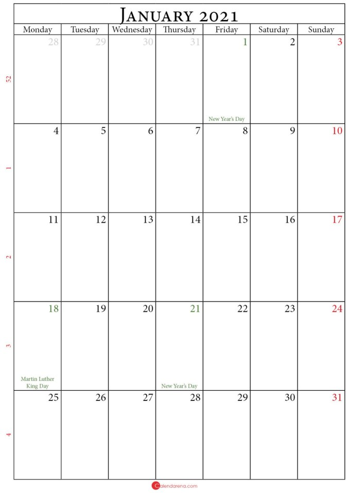 2021 january calendar