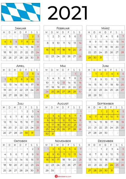 2021 kalender bayern hochformat