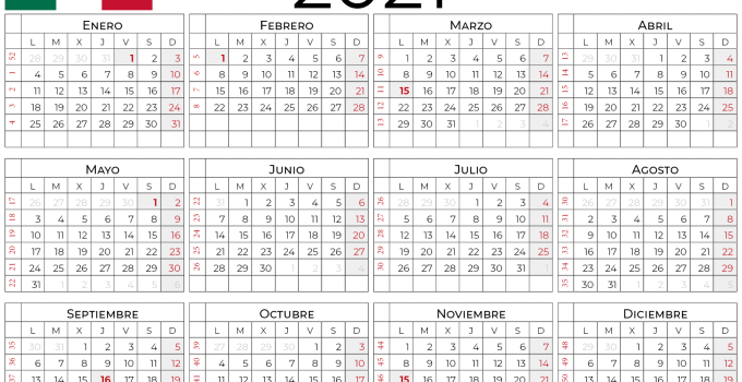 Calendario 2021 Mexico