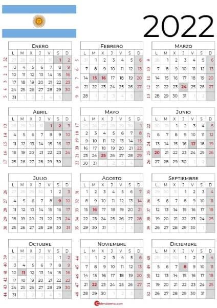 Calendario Argentina 2022 con días festivos_retrato