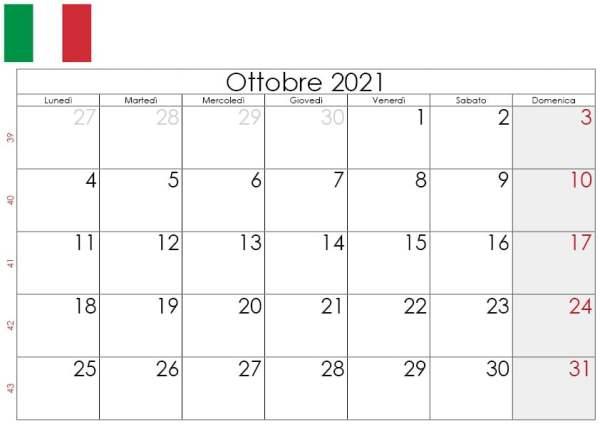 Calendario 1 Ottobre 2021 Calendario Ottobre 2021 da stampare gratuitamente 🇮🇹