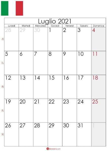 Calendario luglio 2021 da stampare