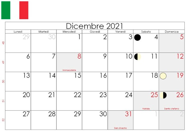 Calendario lunare Dicembre 2021