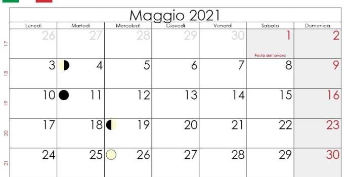 Calendario lunare maggio 2021