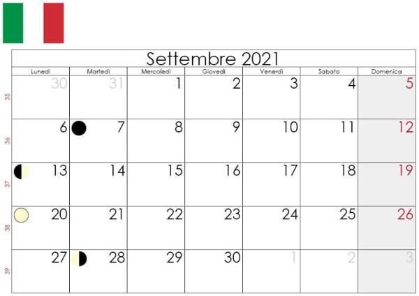 Calendario lunare settembre 2021