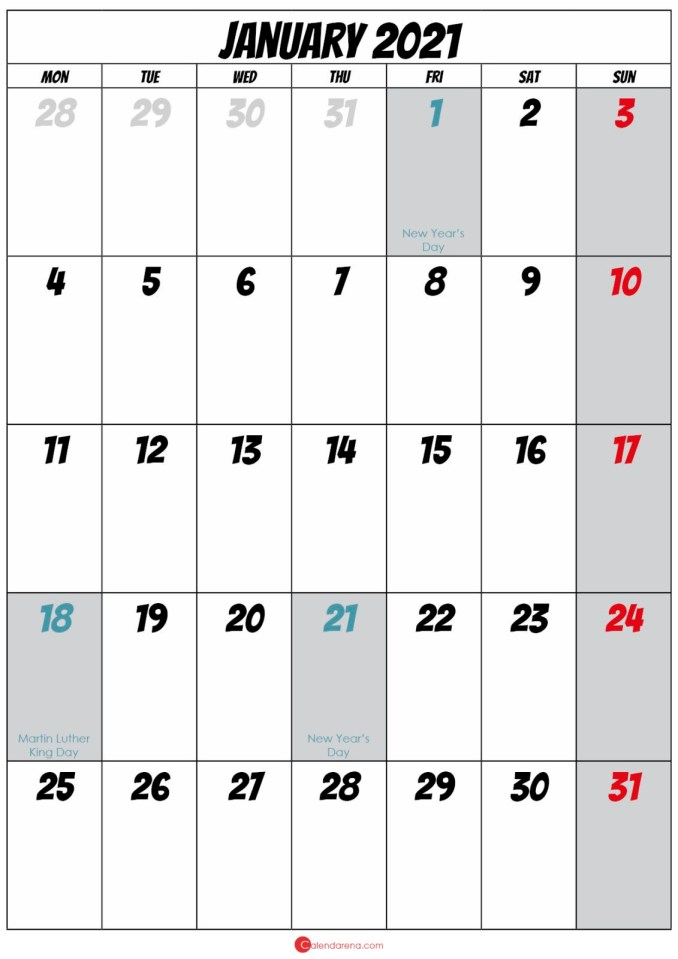 blank january 2021 calendar
