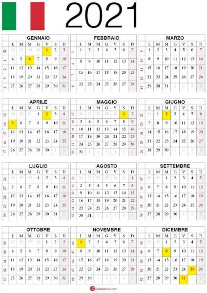 calendario 2021 da stampare