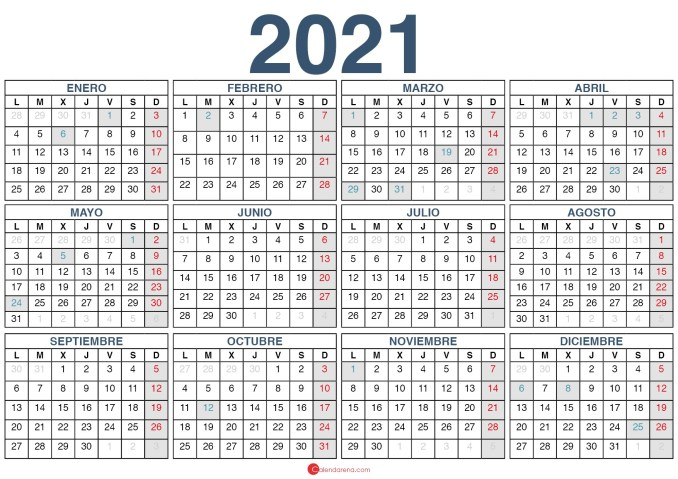 Calendario 2021 Plantilla 1