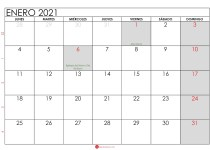 calendario enero 2021 para imprimir