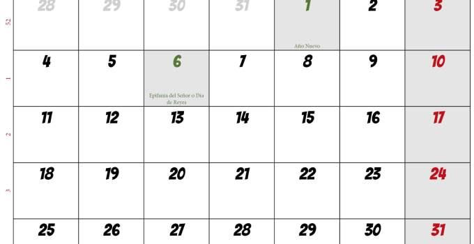 Calendario enero 2021 España