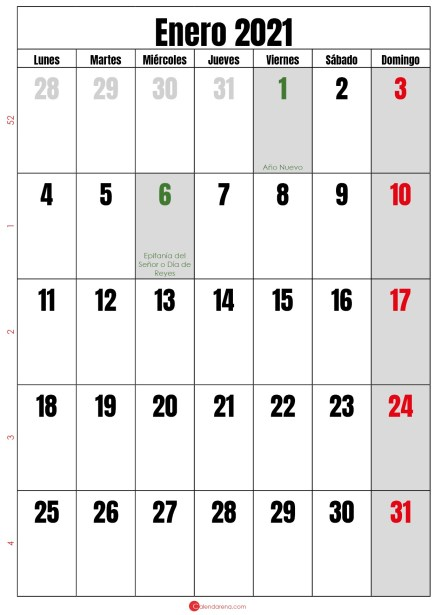 calendario semanal enero 2020