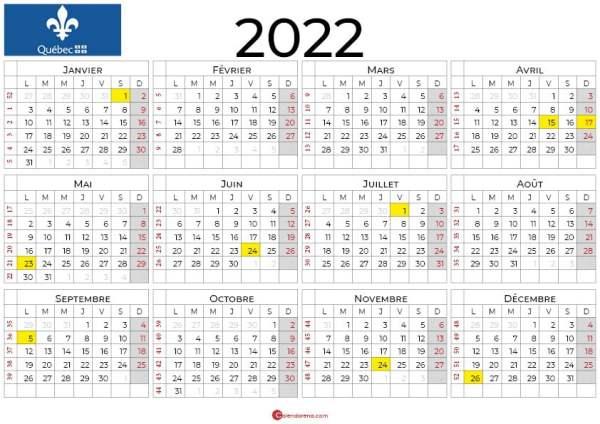 calendrier 2022 à imprimer quebec