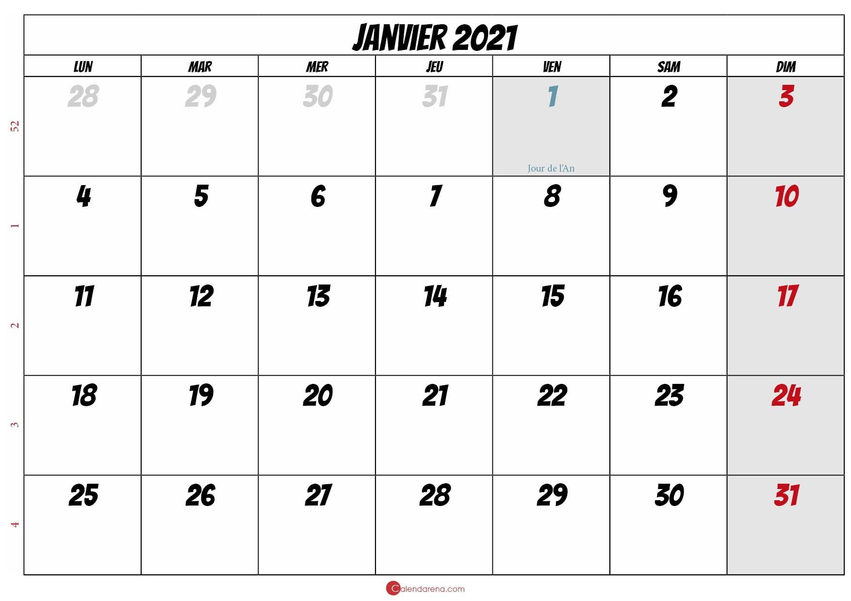 calendrier de janvier 2021