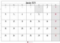 calendrier janvier 2021 gratuit