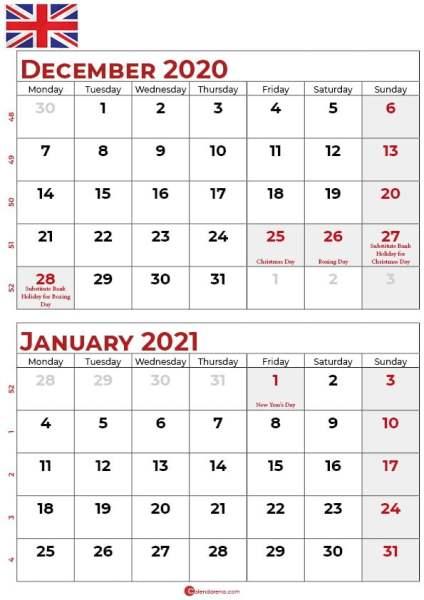 december 2020 january 2021 calendar UK_2