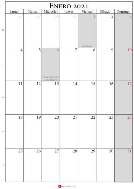 enero 2021 calendario