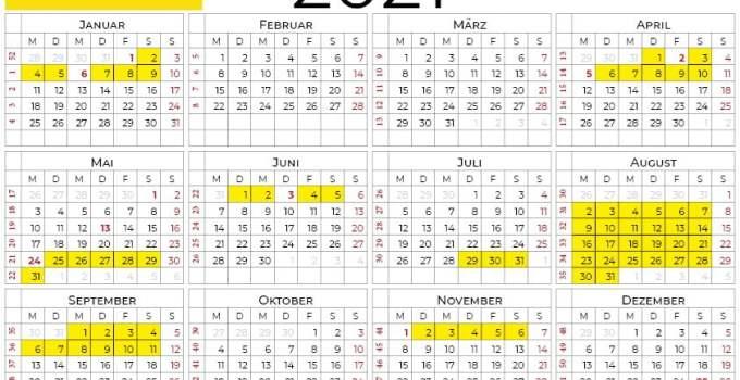 kalender 2021 Baden-Württemberg querformat