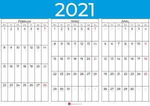 kalender februar märz april 2021_blue