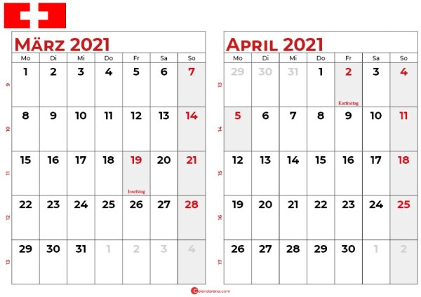 kalender märz april 2021 Schweiz