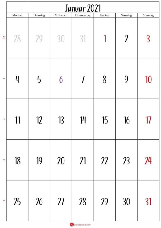 monat januar 2021 kalender