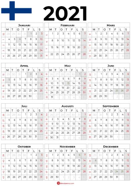 Årskalendrar 2021 med helgdagar Finland