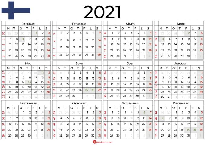 Årskalendrar 2021 med helgdagar Finland2
