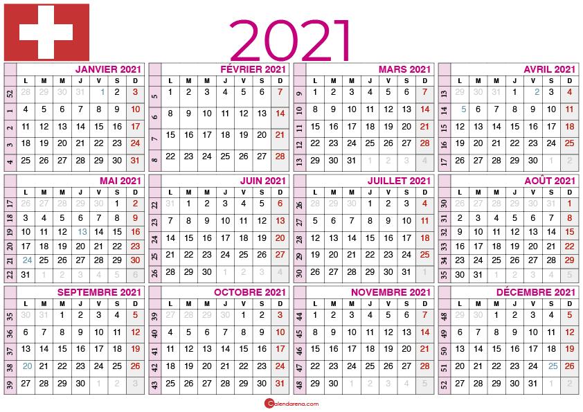 Calendrier 2021 à imprimer suisse Paysage
