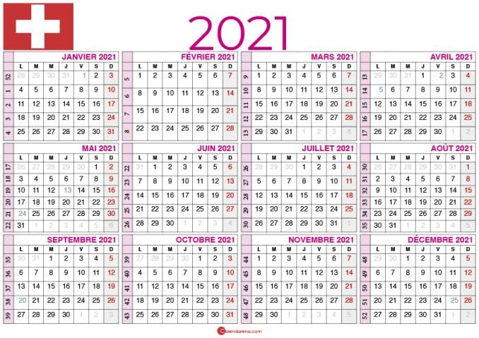 Calendrier Suisse 2021 Télécharger calendrier 2021 suisse avec semaines 🇨🇭