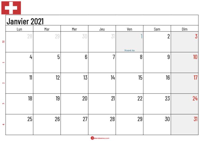 Calendrier Janvier 2021 suisse