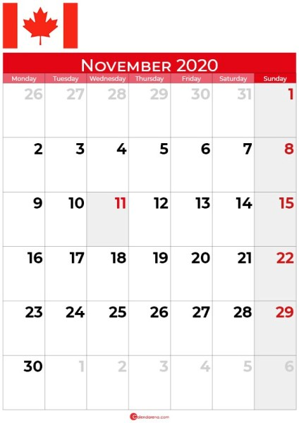 Canada november 2020 calendar portrait